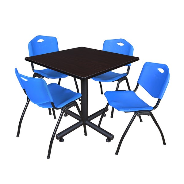 Kobe 36-inch Square Breakroom Table and 4 'M' Blue Stack Chairs