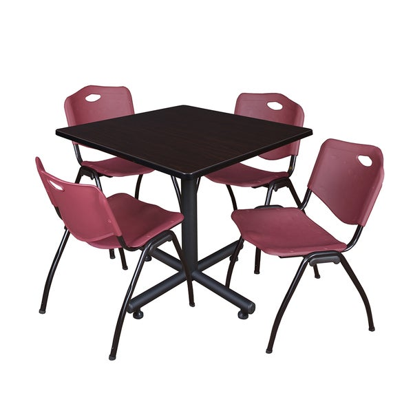 Kobe Burgundy/Black 36-inch Square Breakroom Table and 4 Stackable Chairs
