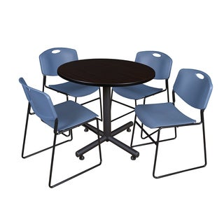 Kobe 36-inch Round Breakroom Table and 4 Zeng Blue Stackable Chairs