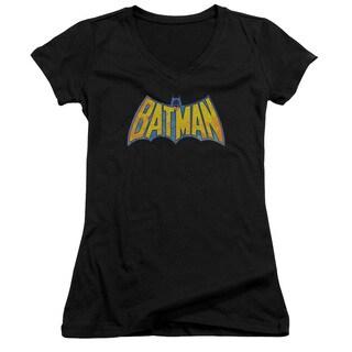 DCO/Batman Neon Distress Logo Junior V-Neck in Black