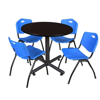 Regency Seating Kobe Black 36-inch Round Breakroom Table with 4 Blue M-style Stacking Chairs