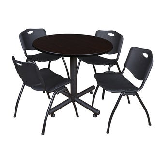 Regency Seating Kobe Black 36-inch Round Breakroom Table with 4 Black M-style Stacking Chairs