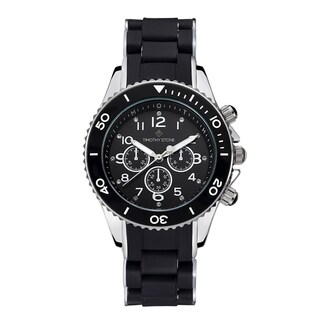 Timothy Stone Women's Amber Silicone Black/Silver-Tone Watch