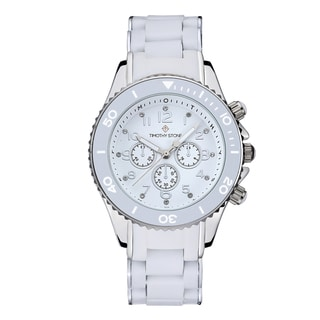 Timothy Stone Women's Amber Silicone White/Silver-Tone Watch