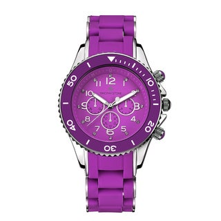 Timothy Stone Women's Amber Silicone Purple/Silver-Tone Watch