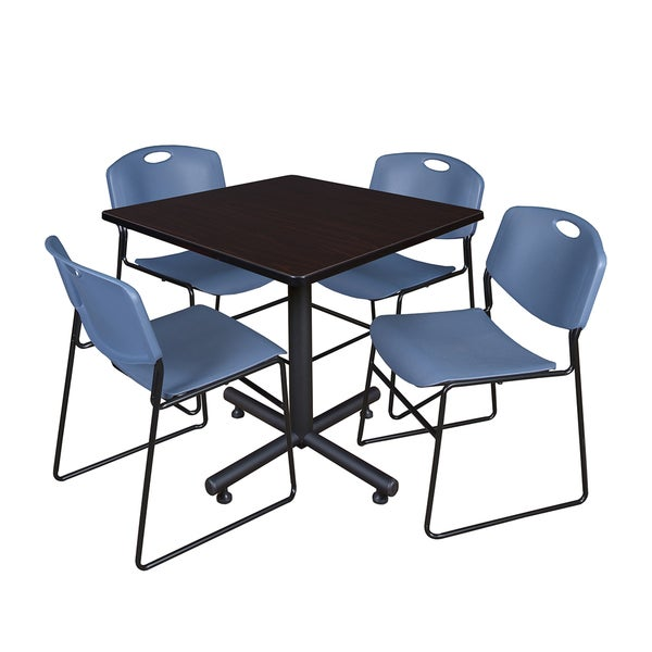 Kobe Blue/Black Laminate 42-inch Square Breakroom Table and 4 Zeng Stack Chairs