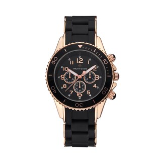 Timothy Stone Women's Amber Silicone Black/Rose Gold-Tone Watch