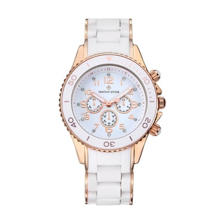 Timothy Stone Women's Amber Silicone White/Rose Gold-Tone Watch