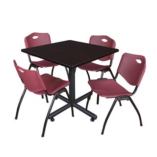 Regency Seating Kobe 42-inch Square Breakroom Table with 4 M Burgundy Stack Chairs