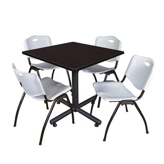 Kobe 42-inch Square Breakroom Table and 4 'M' Stack Chairs (More options available)