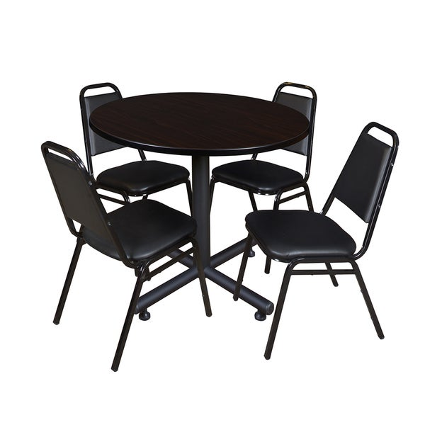 Regency Seating Kobe Wood/Metal/Laminate 42 Inch Round Table With 4 Black