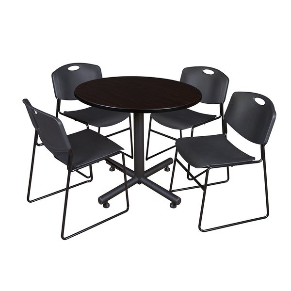 regency seating kobe melamine laminate 42 inch round breakroom table and 4 black zeng stack. Black Bedroom Furniture Sets. Home Design Ideas