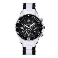 Women's 'Amber' White Two-Tone Crystal Accented Silicone Link Boyfriend Watch 39mm by Timothy Stone