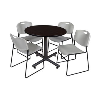 Kobe 42-inch Round Breakroom Table and 4 Zeng Grey Stack Chairs
