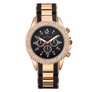 Timothy Stone Women's Amber Bicolor Rose Gold-Tone/Black Watch