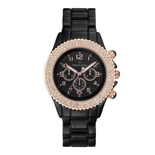 Women's 'Amber' Crystal Faux Ceramic Boyfriend Bracelet Watch 39mm by Timothy Stone (Option: Rose-Tone/Black)