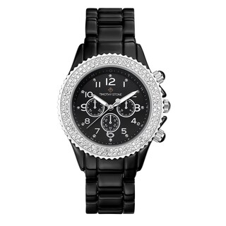 Women's 'Amber' Crystal Faux Ceramic Boyfriend Bracelet Watch 39mm by Timothy Stone (Option: Silver-Tone/Black)