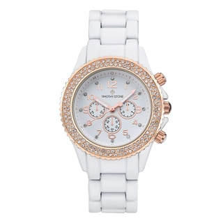 Timothy Stone Women's Amber Faux Ceramic White/Rose Gold-Tone Watch