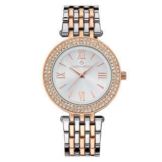 Women's 'Burst' Roman Numeral Crystal Two-Tone Stainless Steel Boyfriend Bracelet Watch 39mm by Timothy Stone
