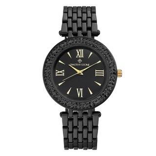 Women's 'Burst' Roman Numeral Crystal Two-Tone Stainless Steel Boyfriend Bracelet Watch 39mm by Timothy Stone (Option: Black/Rose-Tone)