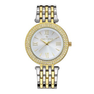 Women's 'Burst' Roman Numeral Crystal Two-Tone Stainless Steel Boyfriend Bracelet Watch 39mm by Timothy Stone (Option: Silver-Tone/Gold-Tone)