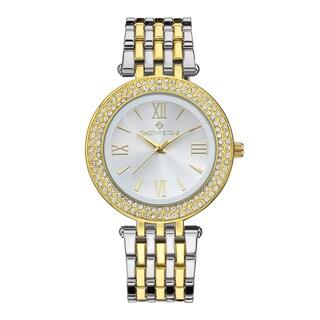 Women's 'Burst' Roman Numeral Crystal Two-Tone Stainless Steel Boyfriend Bracelet Watch 39mm by Timothy Stone (Option: Silver-Tone/Gold-Tone)