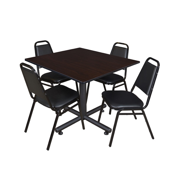 Kobe 48 Inch Square Breakroom Table And 4 Black Stacking Restaurant Chairs