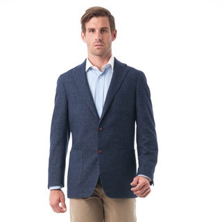 Men's Navy Blue Wool and Cotton Blend Herringbone Classic Fit Blazer