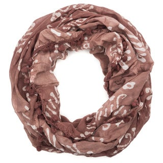 Burnt Red Cotton Batik Pom Infinity Scarf (India)