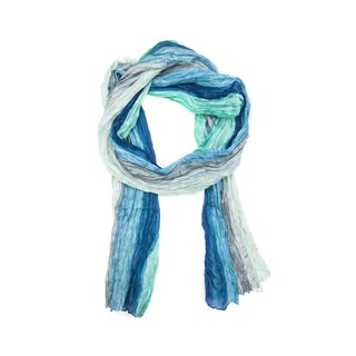 Shibori Waves Blue Silk Scarf (India)