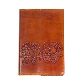 'Owls on a Twig' Brown Leather Journal