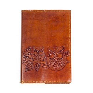 Handmade Owls on a Twig' Brown Leather Journal (India)