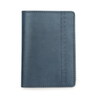 Sustainable Leather Passport Wallet - Blue