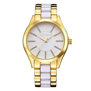 Women's 'Charme' Crystal Two-Tone Stainless Steel Boyfriend Bracelet Watch 40mm by Timothy Stone (3 options available)