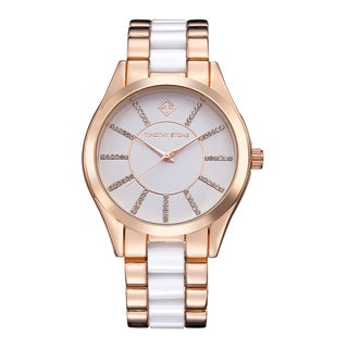 Timothy Stone Women's Charme Bicolor Rose Gold-Tone/White Watch