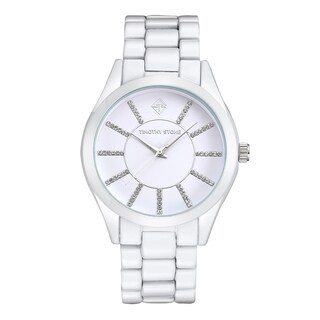 Women's 'Charme' Crystal Embellished Faux Ceramic Boyfriend Watch 40mm by Timothy Stone