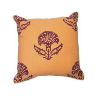 Jacobean Block Print Pillow-Peach
