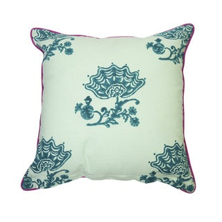 Jacobean Block Print Pillow - Celadon
