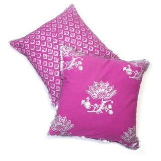 Jacobean Block Print Pillow- Fuchsia