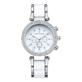 Women's 'Desire' Crystal Accented Two-Tone Stainless Steel Bracelet Boyfriend Watch 39mm by Timothy Stone