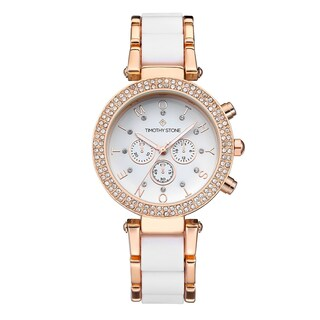 Women's 'Desire' Crystal Accented Two-Tone Stainless Steel Bracelet Boyfriend Watch 39mm by Timothy Stone (Option: White/Rose-Tone)