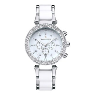 Women's 'Desire' Crystal Accented Two-Tone Stainless Steel Bracelet Boyfriend Watch 39mm by Timothy Stone (Option: White/Silver-Tone)