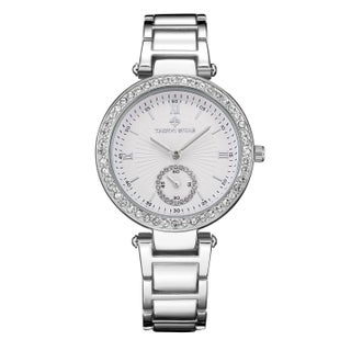 Women's 'Elle' Classic Crystal Accented Stainless Steel Bracelet Watch 36mm by Timothy Stone (Option: Silver-Tone)