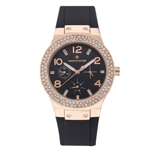 Timothy Stone Women's Facon Silicone Rose Gold-Tone/Black Watch