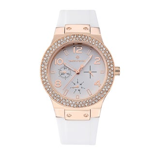 Timothy Stone Women's Facon Silicone Rose Gold-Tone/White Watch