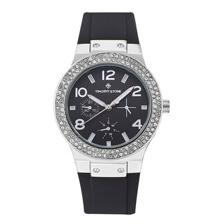 Timothy Stone Women's Facon Silicone and Stainless Steel Silver and Black Design Watch