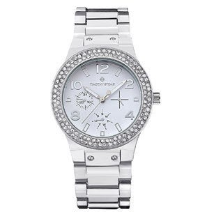 Women's 'Facon' Crystal Bezel Stainless Steel Boyfriend Watch 39mm by Timothy Stone