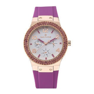 Women's 'Facon' Sporty Chic Crystal Accented Silicone Strap Watch 39mm by Timothy Stone (3 options available)