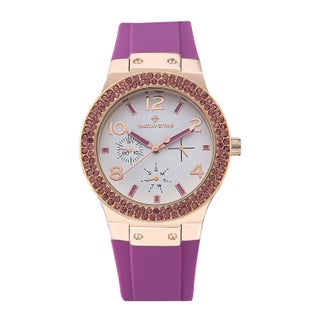 Women's 'Facon' Sporty Chic Crystal Accented Silicone Strap Watch 39mm by Timothy Stone (Option: Rose-Tone - Purple)