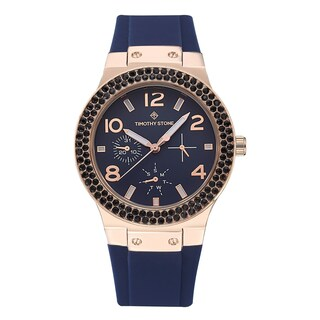 Women's 'Facon' Sporty Chic Crystal Accented Silicone Strap Watch 39mm by Timothy Stone